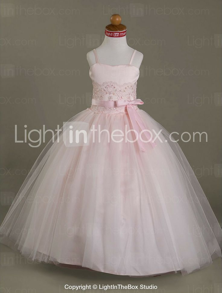 ball gown length flower girl dress satin tulle lace straps with