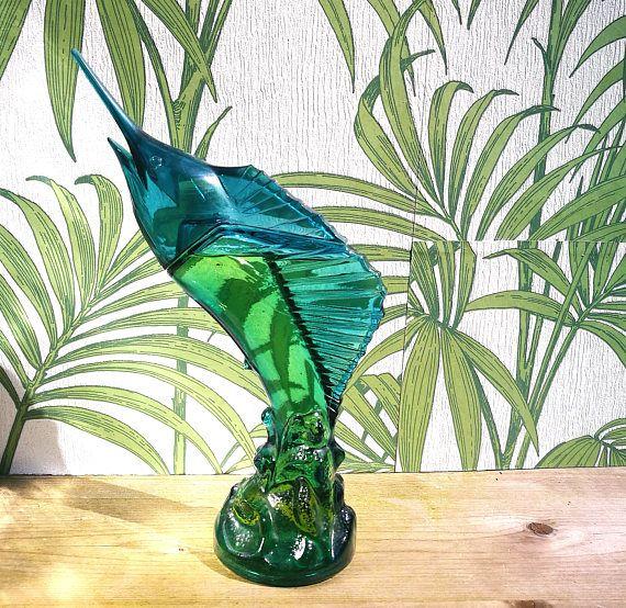 Avon Sea Trophy Aftershave bottle, Perfume bottle Full with WindJammer aftershave cologne, Avon Swordfish bottle Sailfish blue marlin bottle