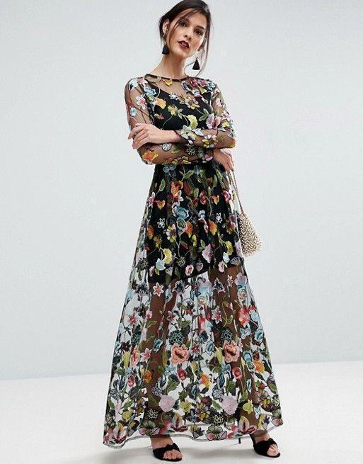 ASOS SALON Embroidered Sheer Maxi Dress