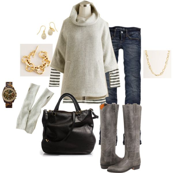 weekend wear: Fall Clothing, Cozy Winter, Weekend Wear, Stripes Shirts, Winter Outfit, Gray Boots, Fall Outfit, Jcrew Ponchos, Grey Boots