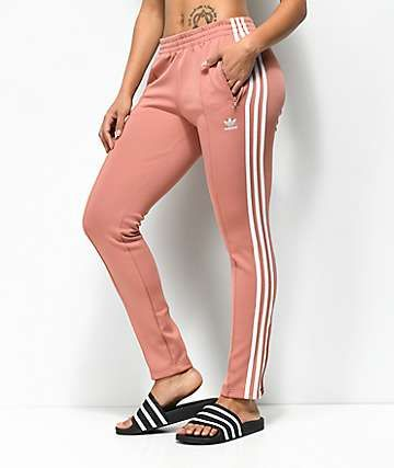 e46bd6d4cf85 adidas 3 Stripe Pink Track Pants in 2019