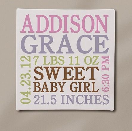 Baby personalized gifts 64 pinterest personalized baby info canvas 11 x 11 available in pink or blue negle Gallery