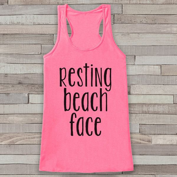 Resting Beach Face Summer Tank Top Funny Beach Tank Surf Tank Vacation... ($19) ❤ liked on Polyvore featuring tops, grey, tanks, women's clothing, summer tank tops, graphic tank, summer shirts, racerback tank top and graphic shirts
