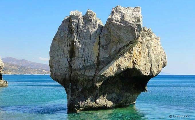 Impressive rock on the beach of Preveli. Crete