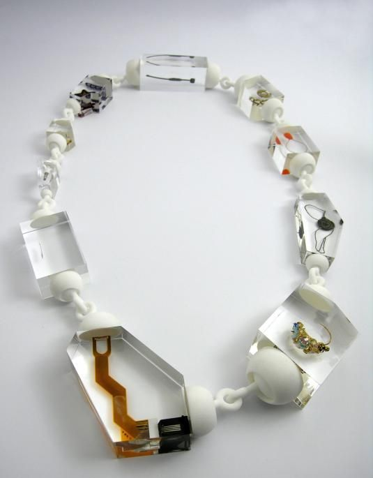 "Ted Noten, ""21 Necklace,"" 21-century remnants (computer parts, electrical parts, plugs, etc.) cast in acrylic and with 3-D nylon connections, 2011. Courtesy of the artist and Ornamentum Gallery, New York."