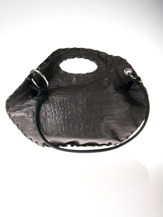 grey leather purse bag by ElenLovelyCollection on Etsy, €60.00