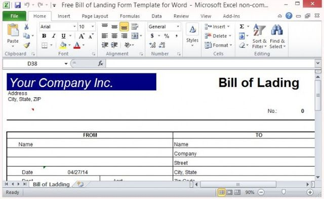 Free Bill Of Lading Short Form Template  Bill Of Lading Forms