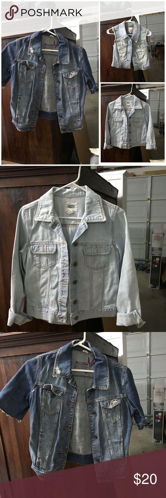 Denim jackets and vest Hollister short sleeve jean jacket (sm) old navy light wash jean jacket (m)  and bebe jean vest (sm) Jackets & Coats Jean Jackets