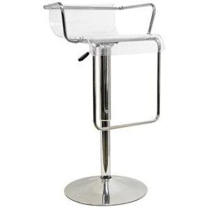 Chartreuse Low - Back Acrylic Adjustable Height Barstool in Clear