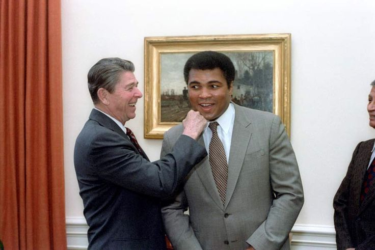 "Ronald Reagan ""punching"" Muhammad Ali at his visit to the White House, 1983."
