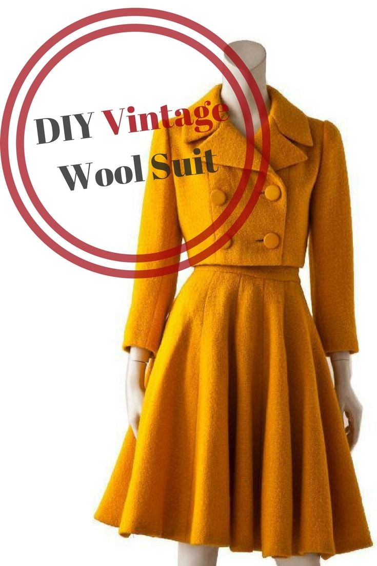DIY Vintage Suit Sewing Tutorial, Free sewing tutorial, Vintage jacket, Vintage skirt suit, DIY vintage clothes, free vintage skirt tutorial #freesewingtutorial #vintageskirt