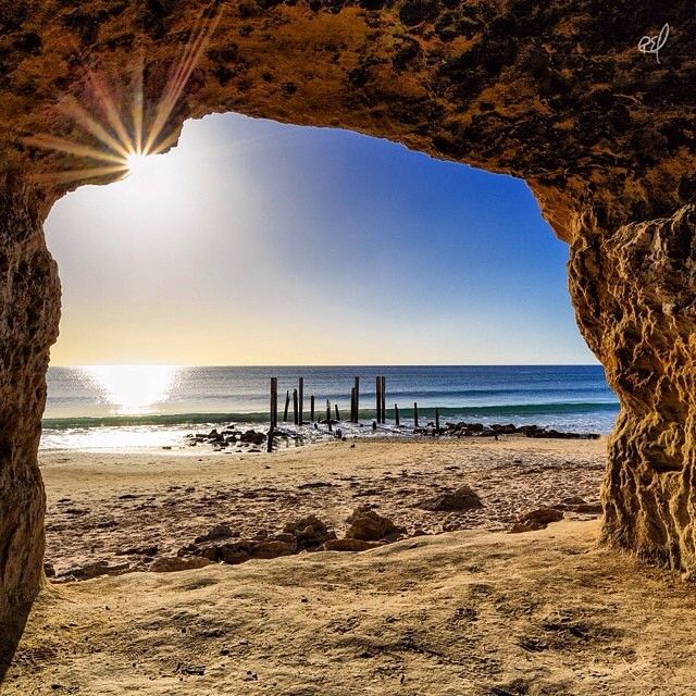 Amazing view from inside the caves at Port Willunga, south of #Adelaide - photo by @rickyebelphotography