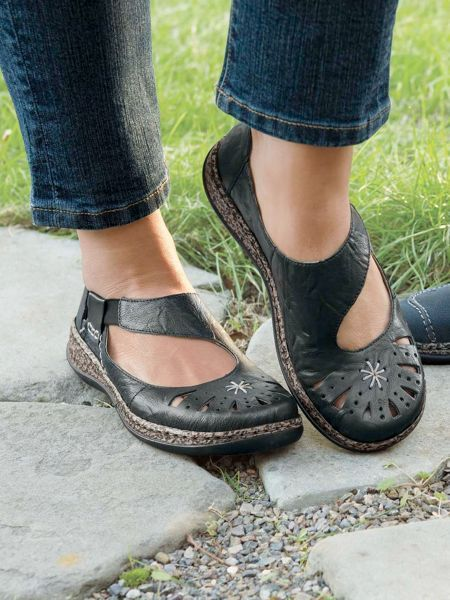 Shop Women's Rieker Asymmetric Daisy Sandals. Cute slip-on Mary Janes in crinkled leather with breezy cutouts, plush cushioning & wide toe boxes.
