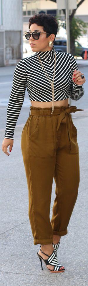 DIY CROPPED TURTLENECK + H&M PANTS / Fashion By Mimi G.