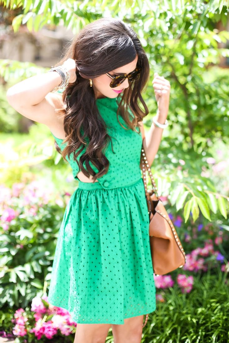 JUNE 18, 2015 Green Eyelets - DRESS: Topshop (also available in a beautiful blue!… & it comes in WHITE for petites) | BAG: Valentino (similar style tan tote) | HEELS: Steve Madden (similar wedge style) | SUNGLASSES: Karen Walker | WATCH: Michele | BRACELETS: David Yurman, & here) | EARRINGS: Tory Burch | LIPS: Michiyo