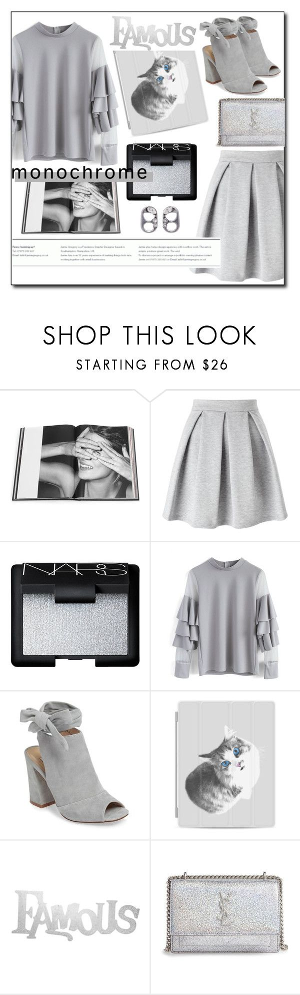 """One Color, Head to Toe #1"" by channdid ❤ liked on Polyvore featuring Rizzoli Publishing, Miss Selfridge, NARS Cosmetics, Chicwish, Kristin Cavallari, Casetify, PBteen, Yves Saint Laurent, Marc Jacobs and monochrome"