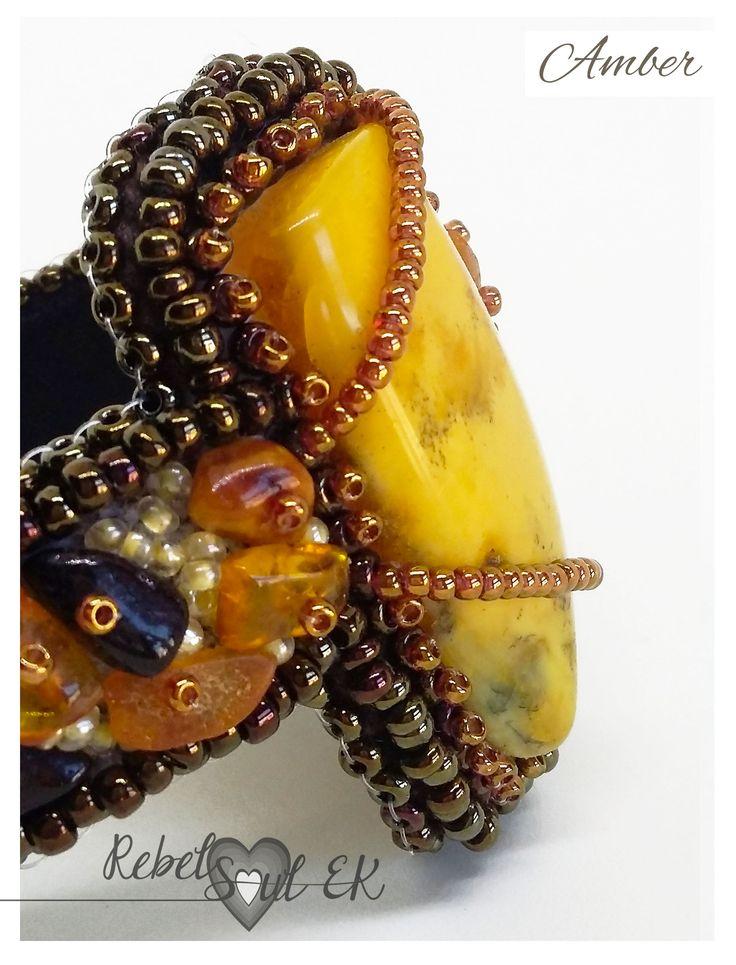 Genuine amber bracelet, hand embroidered statement bracelet, egg yolk amber cuff, authentic bracelet, costume amber cuff, healing amber