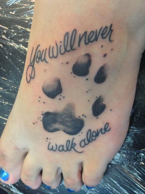 a memorial tattoo to my dog <3 #tattoo #pawprint #quotes