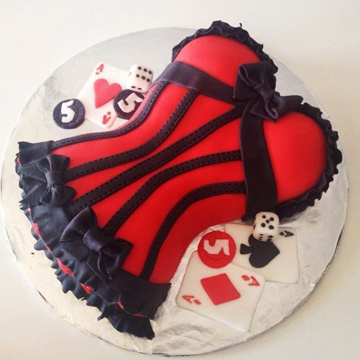 Red Vegas Theme Corset Cake In Fondant By Todays Sweet Cakery
