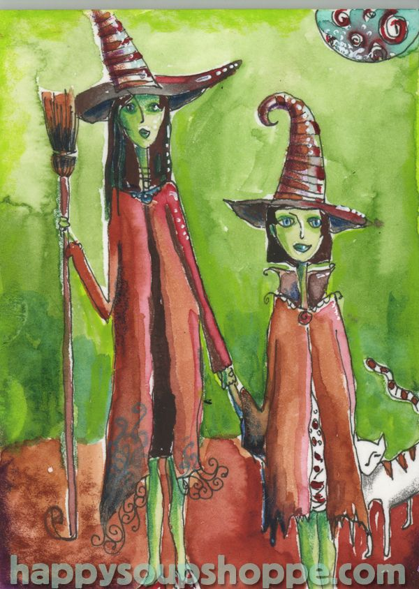Two Witches hand painted watercolor greeting card print by Vermont artist Cathy Stevens Pratt https://www.etsy.com/listing/164534049/halloween-greeting-card-two-witches