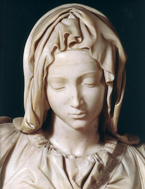 """Pieta, Michelangelo. So lovely. On May 21, 1972,  a mentally disturbed man walked into the chapel and attacked the sculpture with a geologist's hammer while shouting """"I am Jesus Christ."""" Onlookers took many of the pieces of marble that flew off. Later, some pieces were returned, but many were not, including Mary's nose, which had to be reconstructed from a block cut out of her back."""