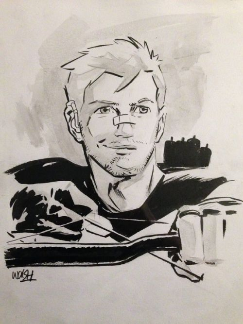 makeyouanocean:  Hawkeye commission by Michael Walsh - Toronto Fan Expo, 03 September 2015 I asked if he'd be willing to draw Clint with hearing aids, and he used my own for reference.  What an amazing start to my first ever con.  ❤