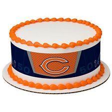 Chicago Bears NFL ~ Edible Cake Image ~ 1/4 Sheet Designer Strips D19126