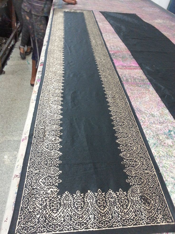 Black Runner with gold hand block printed border