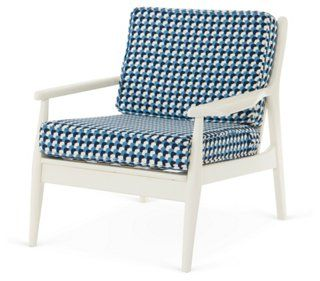 Spindle-Back Lounge Chair, White/Blue Stanley @ OKL reincarnation of Hayward Wakefield :-)