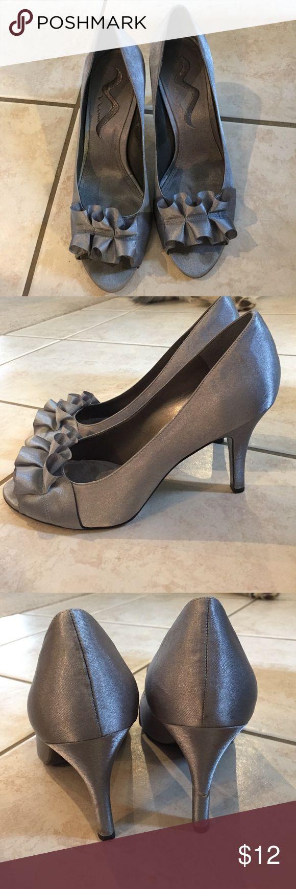 Nina heels Silver, open toed, heels. Small tear on right heel, worn once. Nina Shoes Heels