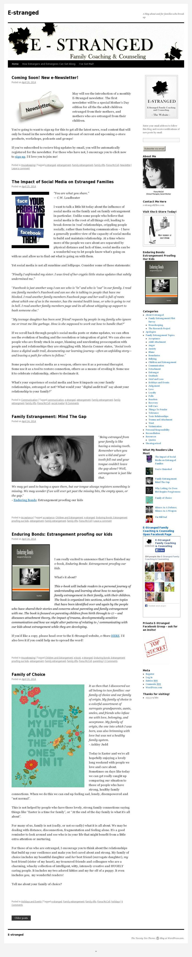 The E-Stranged blog - full of articles about family estrangement!