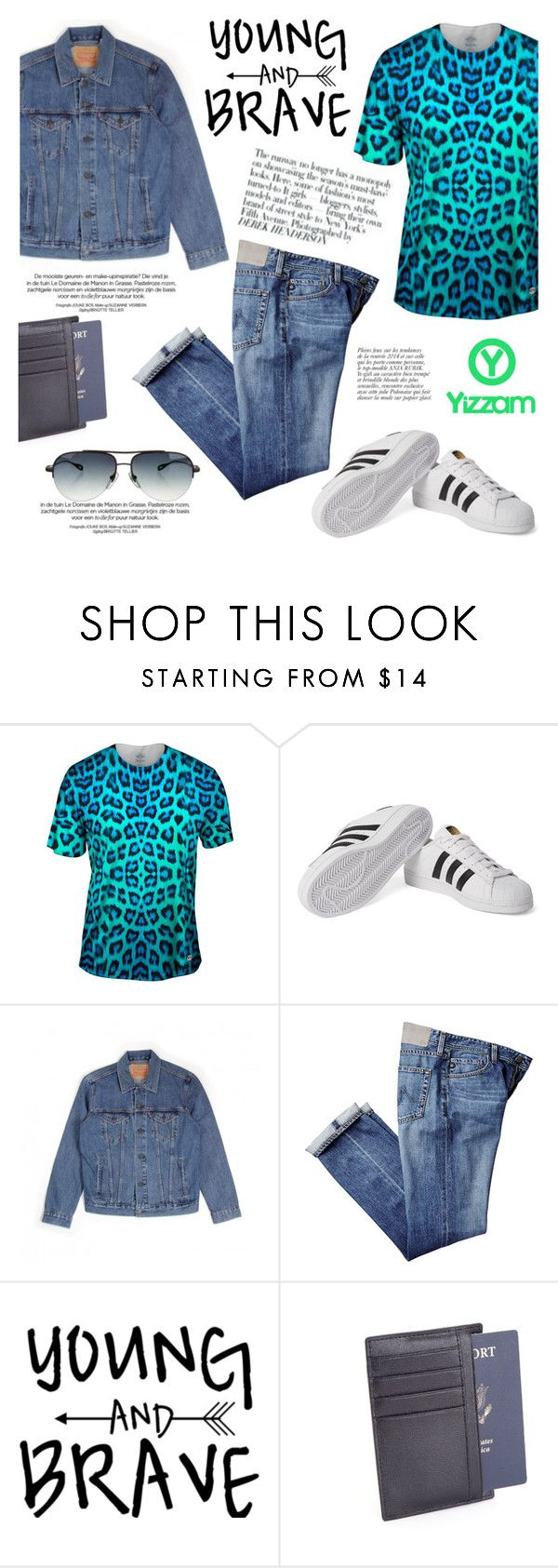 """""""Neon Blue Leopard Animal Skin/Yizzam T-shirts and more"""" by helenevlacho ❤ liked on Polyvore featuring adidas Originals, Levi's, Avenue, Royce Leather, Anja, Chrome Hearts, menswear and yizzam"""