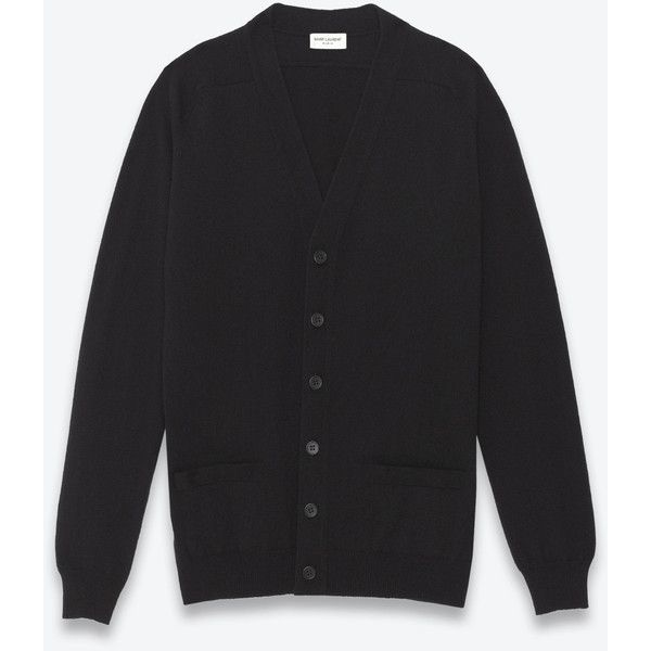 Saint Laurent Classic V-neck Cardigan ($1,230) ❤ liked on Polyvore featuring men's fashion, men's clothing, men's sweaters, men's v neck sweater, mens cardigan sweaters, mens ribbed sweater, mens v neck cardigan sweater and mens vneck sweater
