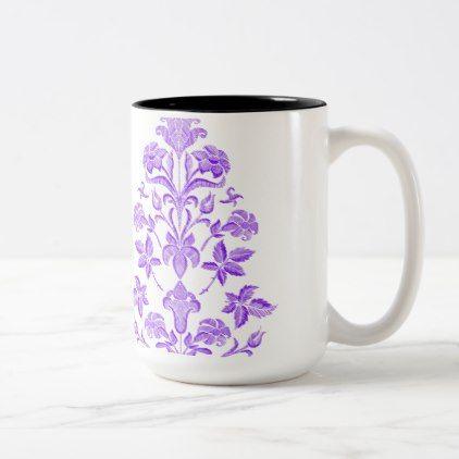 Flowers embroidery Two-Tone coffee mug - retro gifts style cyo diy special idea