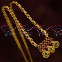 NL13621RG AD Ruby Emerald Pendant Low Price Gold Plated Chain South Indian Jewellery Online