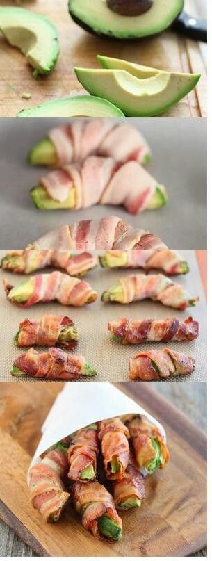 Bacon avocado rolls. Maybe try with turkey bacon... could be interesting maybe