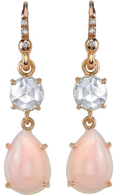Irene Neuwirth Rose Gold Opal and Diamond Drop Earrings