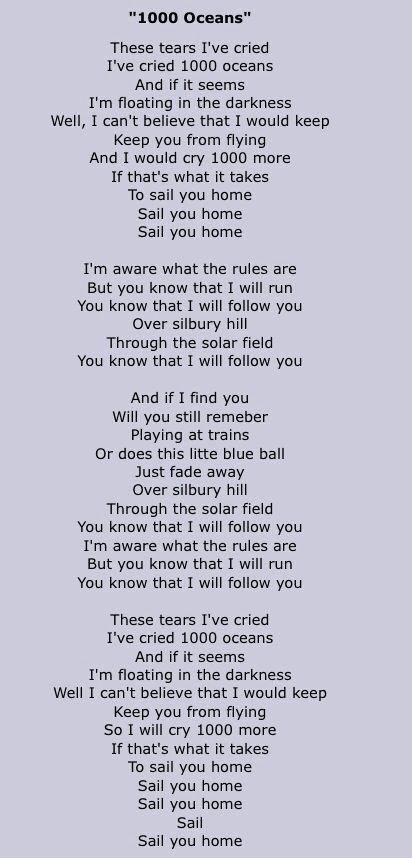 Tori Amos lyrics to 1000 Oceans