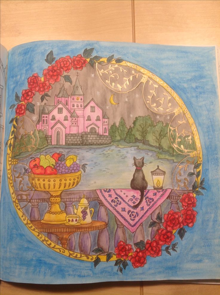 Romantic Country, Eriy, color by me ( Seija), derwent watercolor, inktense and gelpencils. Don't like The backround...