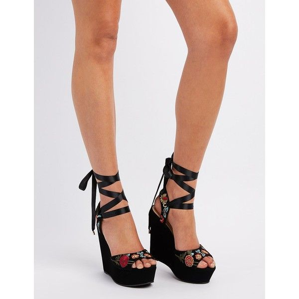 Delicious Embroidered Ribbon-Tie Wedge Sandals ($27) ❤ liked on Polyvore featuring shoes, sandals, black, peep toe wedge sandals, black wedge sandals, black sandals, platform wedge sandals and summer sandals
