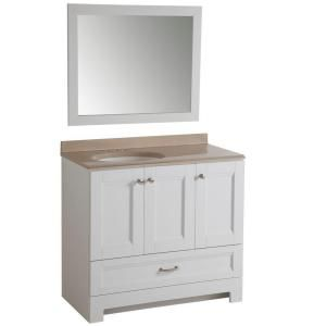 Glacier Bay, Ivy Hill 36 in. Vanity in White with Colorpoint Vanity Top in Cappuccino with White Basin and Mirror, AS36P3-WH at The Home Depot - Mobile