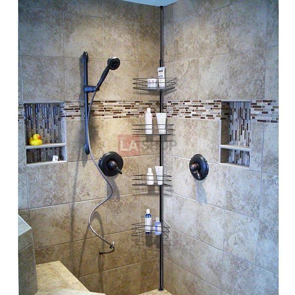 Tub Shower Corner Caddy Shelf Tension Pole W Baskets Color Opt