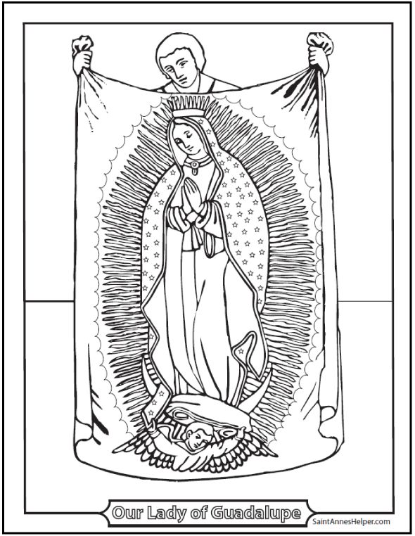 beautiful our lady of guadalupe coloring page includes juan diego and his tilma based