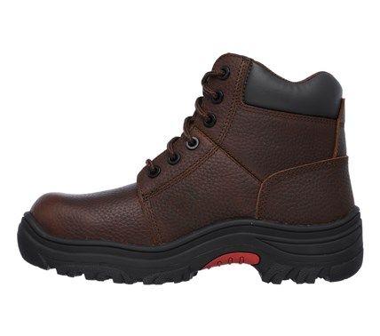 Skechers Work Women's Burgin Taney Memory Foam Composite Toe Work Boots (Dark Brown)