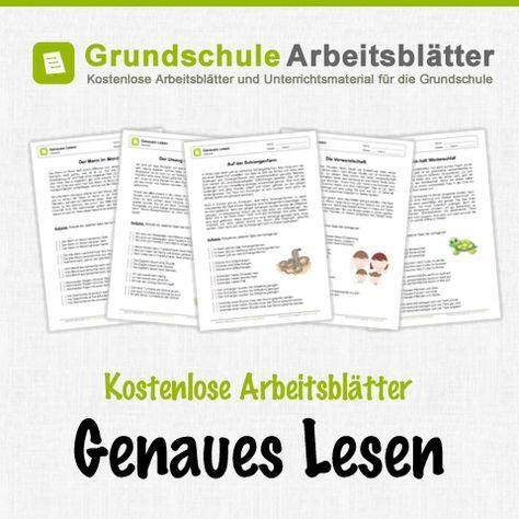 Kostenlose Arbeitsblätter und Unterrichtsmaterial für den Deutsch-Unterricht zum Thema Genaues Lesen in der Grundschule.