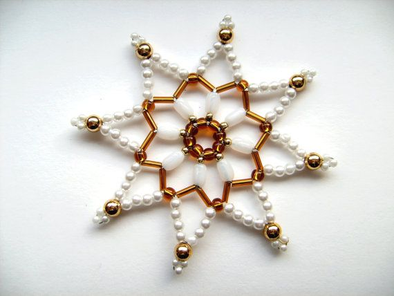 Bead star white/gold 8.9 cm beaded ornament by Sternenstuebchen