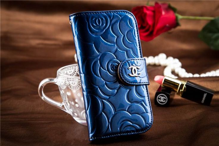Chanel iphone 6 Case Designs leather Cover Noble wallet Rose Blue