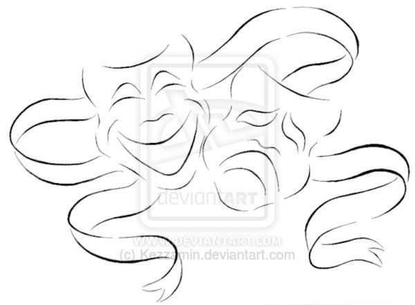 comedy tragedy  music clip art | Comedy and Tragedy tattoo by Kezzamin