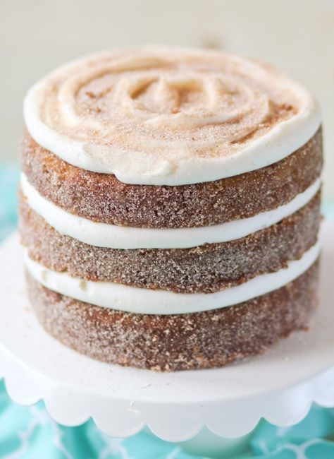 Pumpkin Churro Cake: Pumpkin cake layers are dipped in butter then rolled in cinnamon sugar then topped with fluffy cream cheese frosting. Hello!! If you can resist this cake, call me & tell me how! (Mexican Desert Recipes Mom)