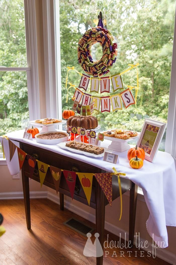 Thanksgiving Dessert Table by @Double the Fun Parties with printables by Love The Day